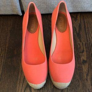 J.Crew coral espadrille wedge shoe. Size 9